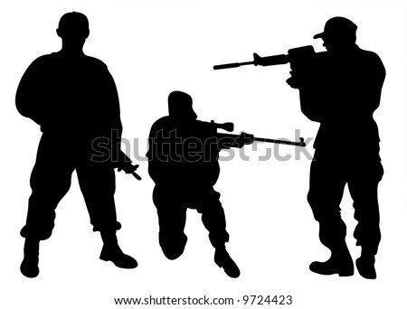 Army men silhouettes - stock vector