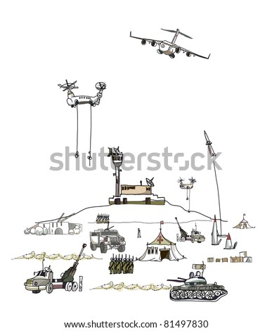 army on the move - stock vector