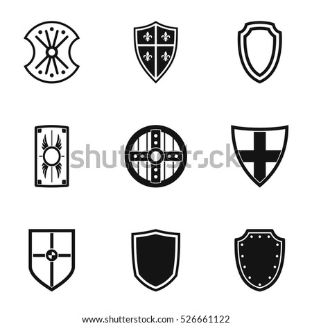 Army shield icons set. Simple illustration of 9 army shield vector icons for web