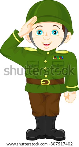 army soldier boy posing - stock vector