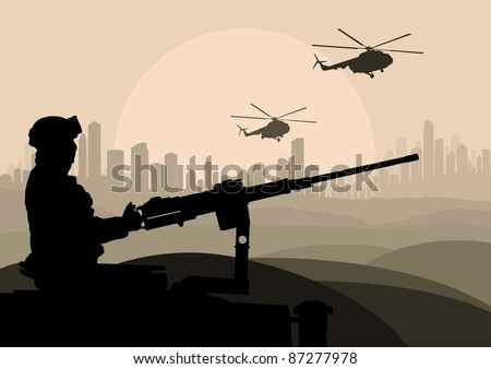 Army soldier in desert skyscraper city landscape background illustration - stock vector