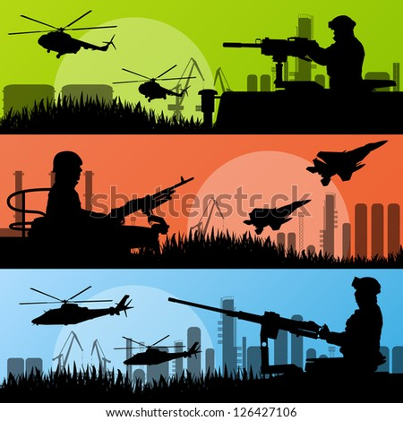 Army soldiers, planes, helicopters, guns and transportation in urban industrial factory landscape background illustration vector - stock vector