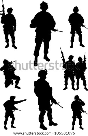 Army soldiers silhouette vector collection - stock vector