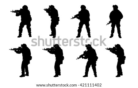 army soldiers with rifle silhouette vector collection. military and law concept.