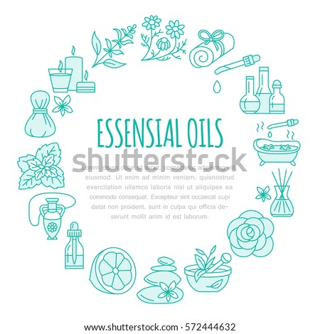 Aromatherapy Essential Oils Brochure Template Circle Stock Vector