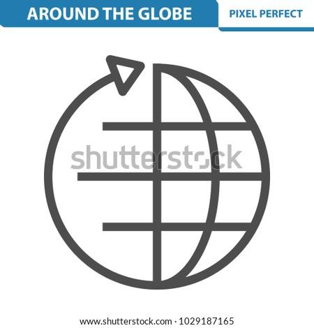 Around Globe Icon Professional Pixel Perfect Stock Vector 2018