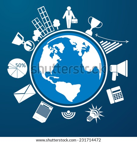 Around the world. Earth planet with item icons man city graph letter megaphone - stock vector