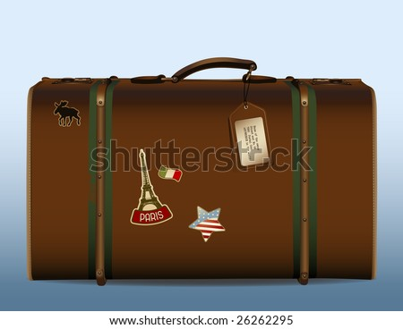 around the world! - realistic illustration of a vintage suitcase with tag and different stickers Please see img.no. 26261566 for other detailed stickers. - stock vector