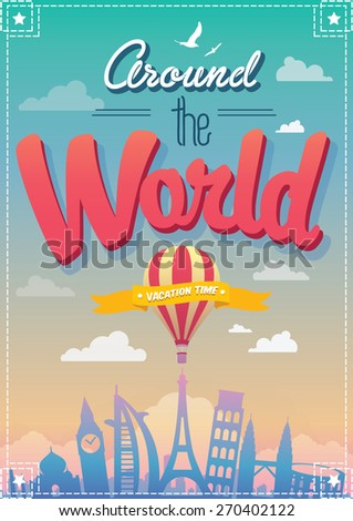 Around The World Vector Poster - stock vector