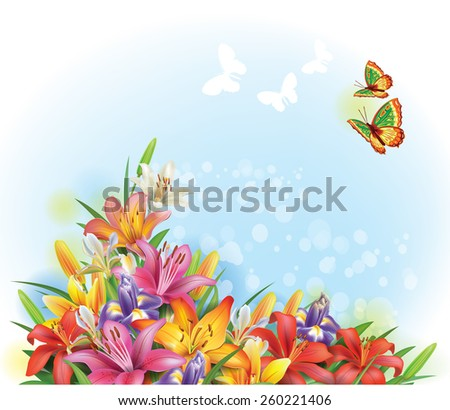 Arrangement of flowers - stock vector