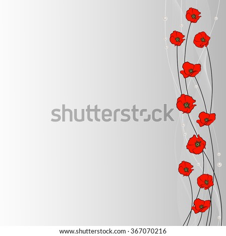 Arrangement of poppy flowers, veil and pearls on gray background for use in your design. - stock vector