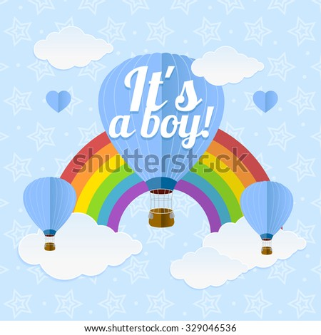Arrival Boy Card.  Flat Design. Vector illustration - stock vector