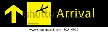 arrival sign board in airport - stock vector