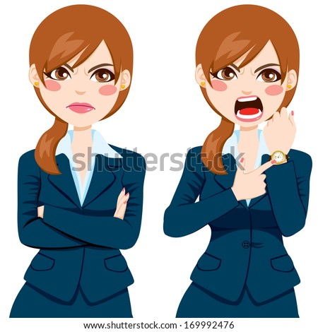 Arriving late concept, angry businesswoman pointing finger to her wristwatch showing the time and yelling - stock vector