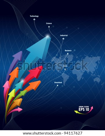 Arrow abstract technology background vector illustration