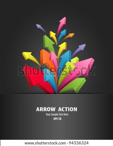 Arrow action in black package, vector illustration - stock vector