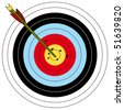 Arrow and archery target, vector illustration - stock photo