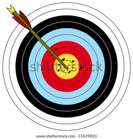 Arrow and archery target, vector illustration - stock vector