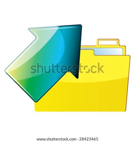 Arrow and folder - stock vector