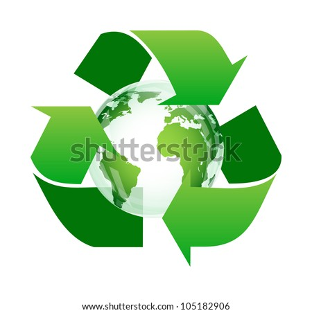 Arrow around the globe (recycle for the earth concept) - stock vector