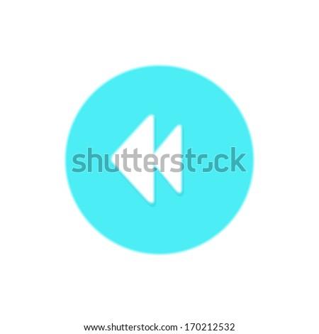 Arrow, back, basic, blue, button, control, media, player, previous, rewind icon - stock vector