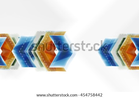 Arrow background. Vector web brochure, internet flyer, wallpaper or cover poster design. Geometric style, colorful realistic glossy arrow shapes with copyspace. Directional idea banner - stock vector