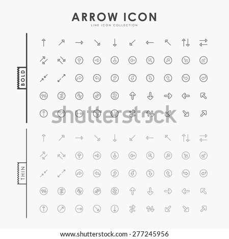arrow bold and thin line icons - stock vector