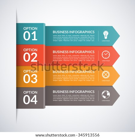 Arrow business infographics design template. 4 steps, parts, options, stages abstract vector background