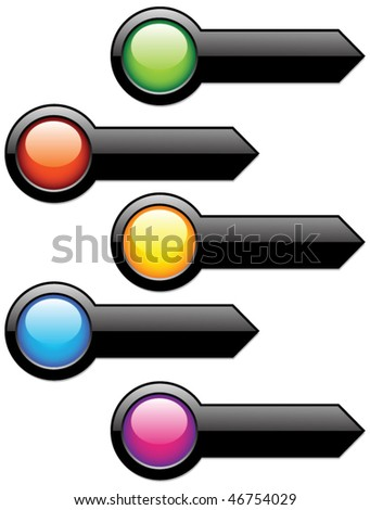 Arrow button template - stock vector