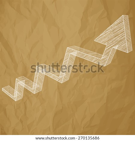 Arrow charts analysis 3d white scribble on crumpled paper brown background - stock vector