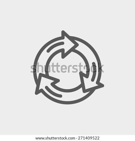 Arrow circle icon thin line for web and mobile, modern minimalistic flat design. Vector dark grey icon on light grey background. - stock vector