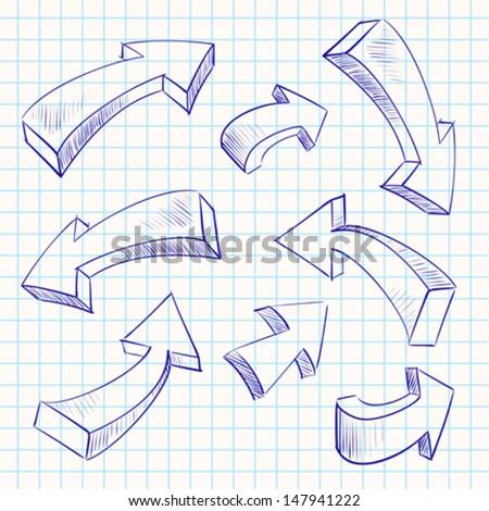 Arrow color sketchy design elements set vector illustration  - stock vector