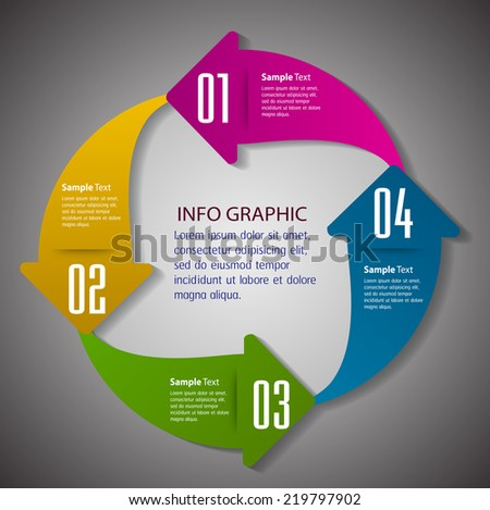 arrow creative design modern template for website and graphic, number, text box for internet technology.  - stock vector