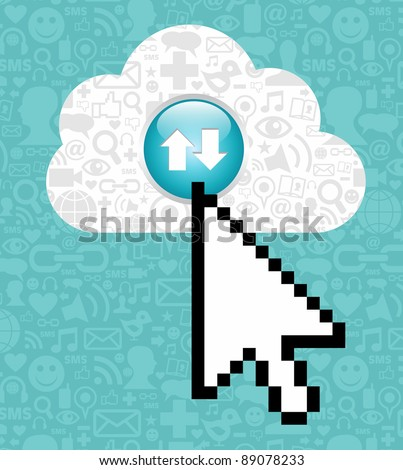 Arrow cursor clicking on a cloud with icons of social media on blue background.  Vector file available. - stock vector
