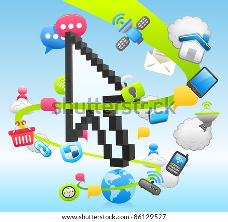 Arrow cursor ,cloud computing,internet,business set - stock vector