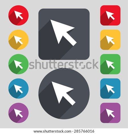 arrow cursor, computer mouse icon sign. A set of 12 colored buttons and a long shadow. Flat design. Vector illustration - stock vector