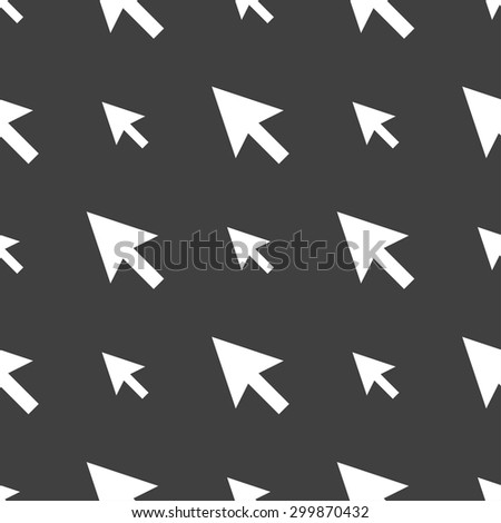 arrow cursor, computer mouse icon sign. Seamless pattern on a gray background. Vector illustration - stock vector