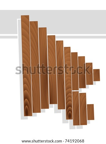 Arrow cursor in wood grain texture style isolated on white - stock vector