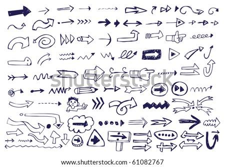 Arrow Doodles - stock vector