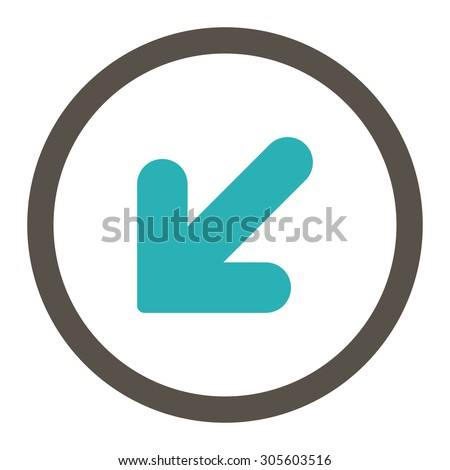 Arrow Down Left vector icon. This rounded flat symbol is drawn with grey and cyan colors on a white background.