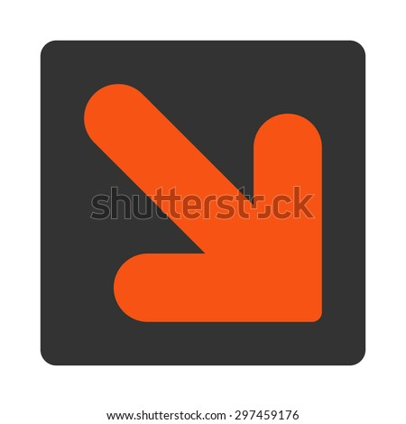 Arrow Down Right icon from Primitive Buttons OverColor Set. This rounded square flat button is drawn with orange and gray colors on a white background. - stock vector