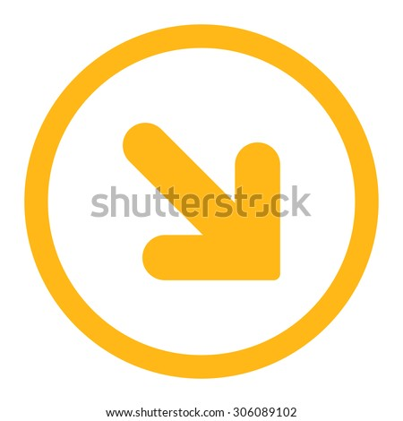 Arrow Down Right vector icon. This rounded flat symbol is drawn with yellow color on a white background. - stock vector