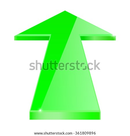Arrow. Glass shiny green icon. Vector illustration isolated on white background