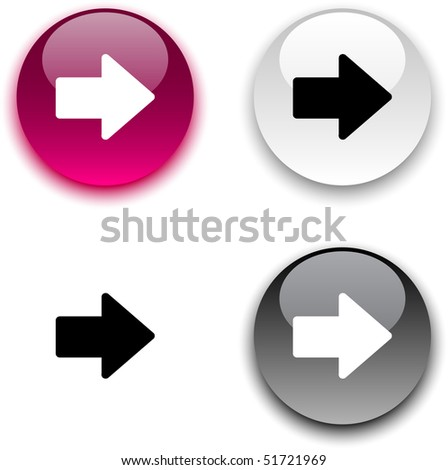 Arrow glossy round vector buttons. - stock vector