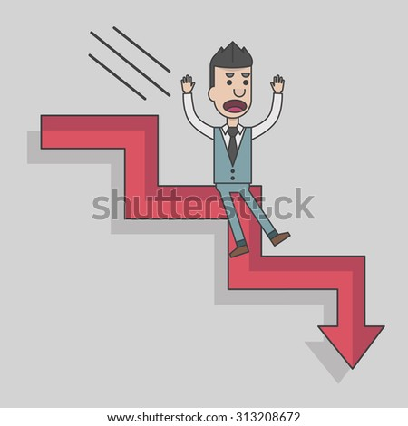 Arrow graph going down and businessman is falling down, vector, illustration