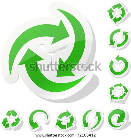 Arrow green stickers. - stock vector