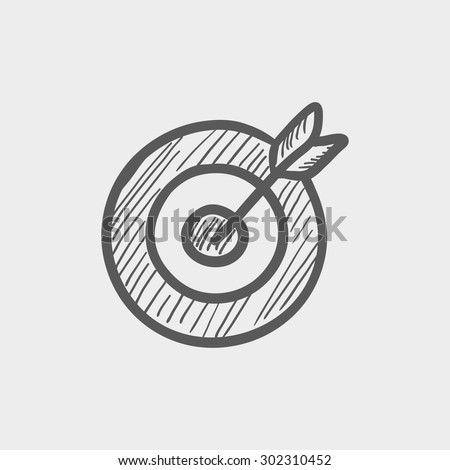 Arrow hit the target sketch icon for web and mobile. Hand drawn vector dark grey icon on light grey background. - stock vector