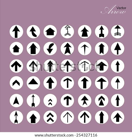 arrow icon set,arrow on purple background,arrow illustration,basic arrow,standard arrow ,art design  arrow vector - stock vector