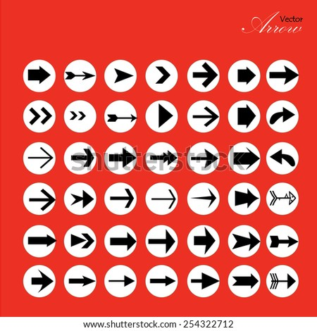 arrow icon set,arrow on red background,arrow illustration,basic arrow,standard arrow ,art design  arrow vector - stock vector