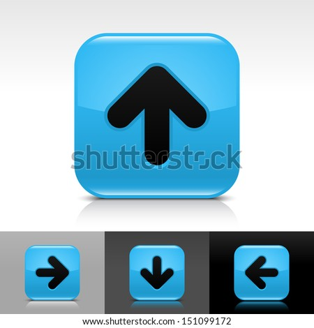 Arrow icon set blue color glossy web button with black sign. Rounded square shape with shadow, reflection on white, gray, black background. Vector illustration design element in 8 eps - stock vector